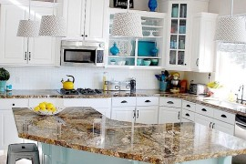 Gorgeous kitchen in aqua and white with open cabinetry  8 Low-Cost DIY Ways to Give Your Kitchen Cabinets a Makeover Gorgeous kitchen in aqua and white with open cabinetry 270x180