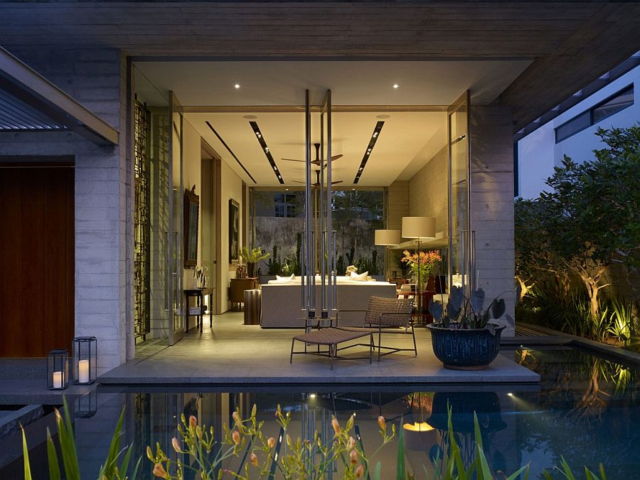 Gorgeous lighting adds to the beauty of the master bedroom with lily pond outside