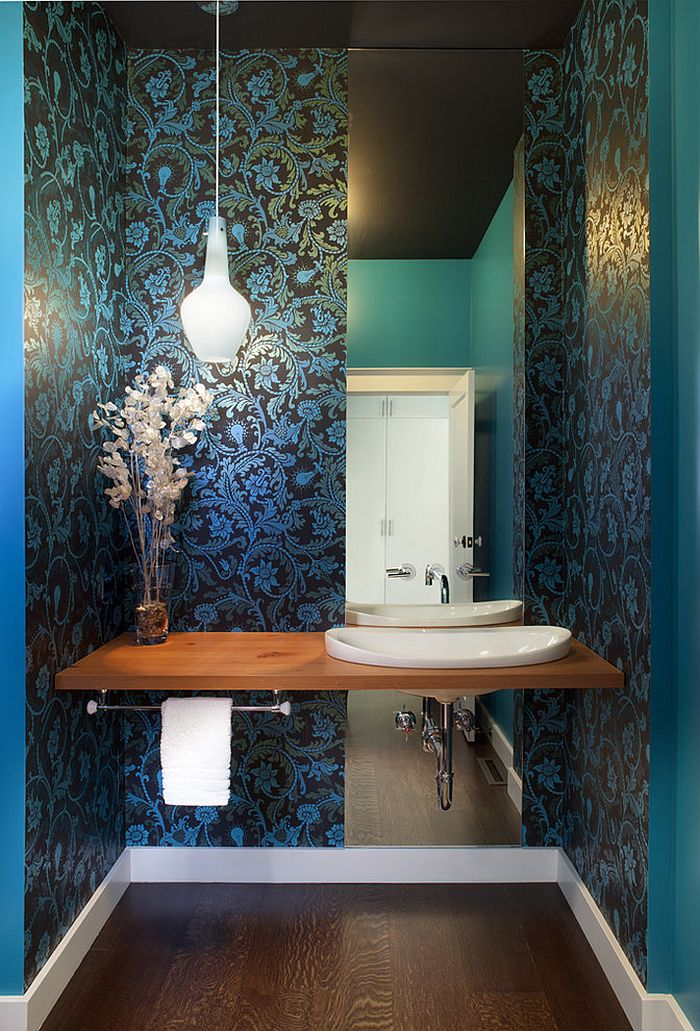Gorgeous powder room in ravishing blue [Design: Jeff King & Company]