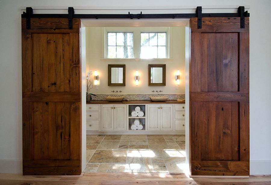 Gorgeous reclaimed Fir barn doors for the posh master bathroom [Design: Bonin Architects & Associates]