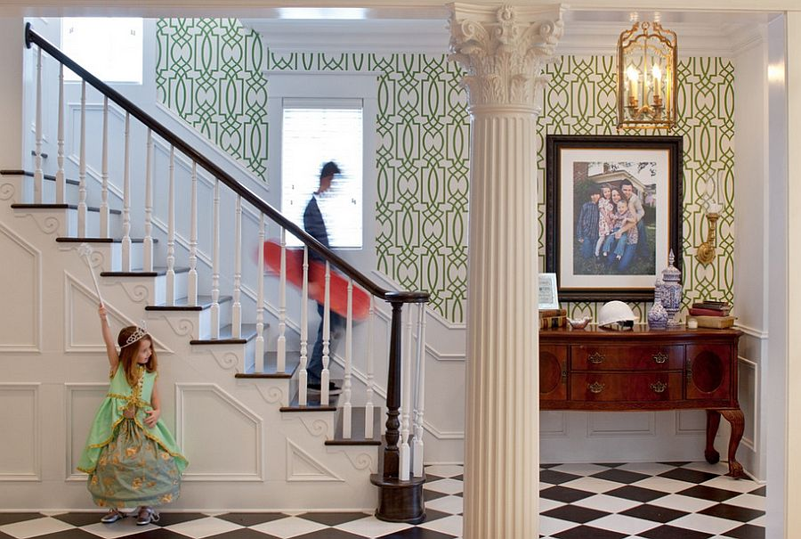 Gorgeous use of wallpaper with elegant green pattern [Design: Hansen Architects]