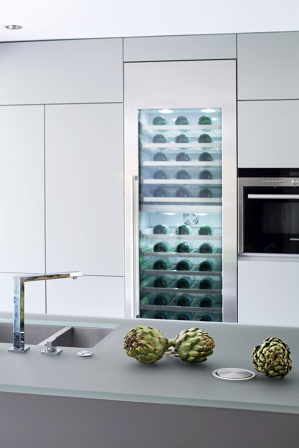 Gray frosted glass adds to the appeal of the kitchen