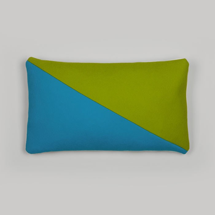 Green and blue colorblocked cushion from Room39