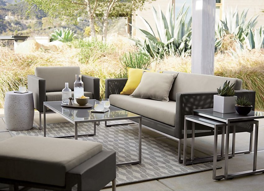 Grey outdoor rug from Crate & Barrel