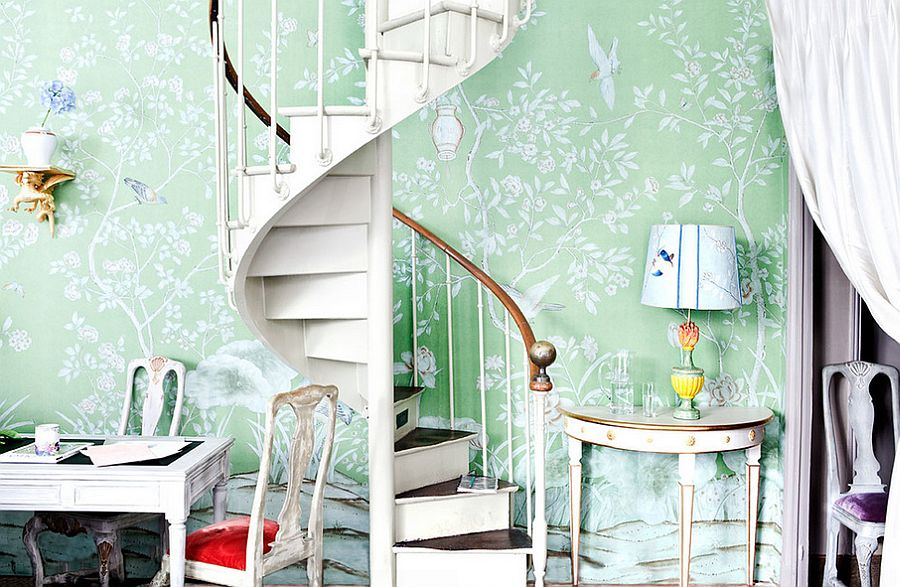 Hand painted wallpaper steals the show here