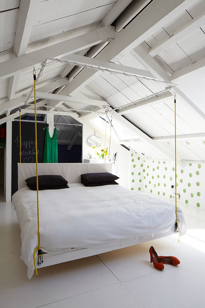 Hanging bed adds to the breezy appeal of the bedroom [From: Callwey]