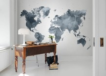 Home office with wall mural and understated beauty