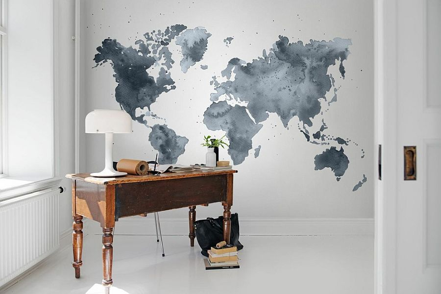 Home office with wall mural and understated beauty [Design: Rebel Walls]