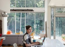 Home workspace design that blends in with the kitchen