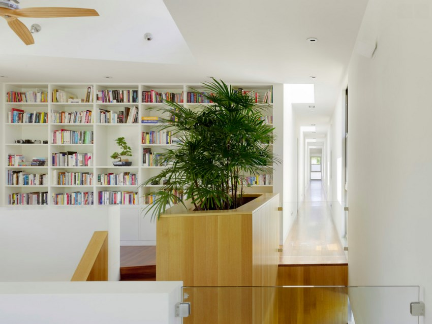 Indoor planter filled with tropical greenery