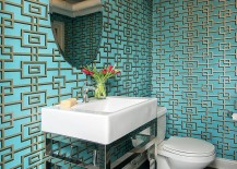 Industrial powder room with trendy wallpapered backdrop