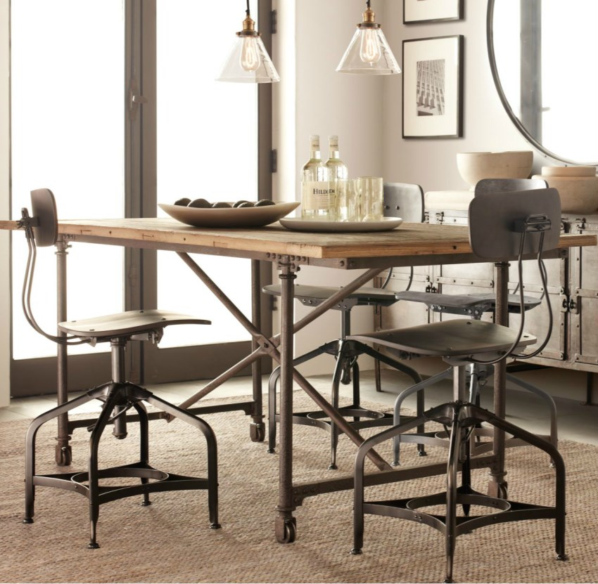 View In Gallery Industrial Stools From Restoration Hardware