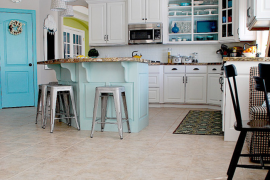 Jen's Aqua and White Kitchen Remodel  8 Low-Cost DIY Ways to Give Your Kitchen Cabinets a Makeover Jens Aqua and White Kitchen Remodel 270x180