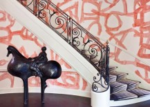 Kelly Wearstler entryway wallpaper 217x155 Color Your World with Brushstroke Motifs