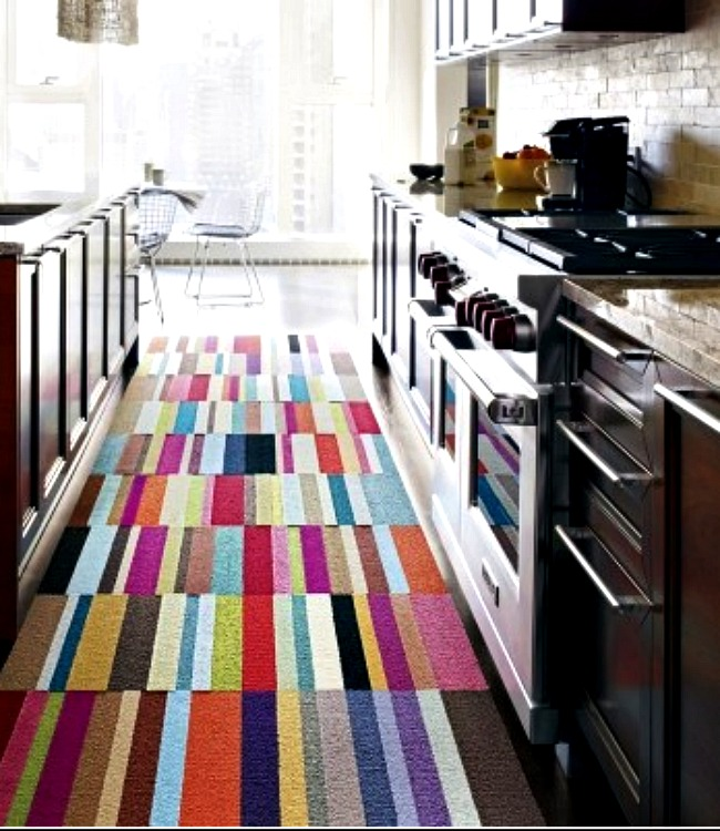 This rug makes a tight kitchen space seem purposeful and cozy