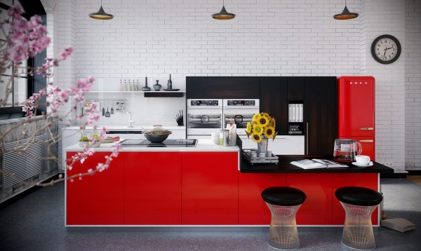 Imagine another set of cabinet fronts instead of the red here and you'll realize how much they change the feel of this kitchen