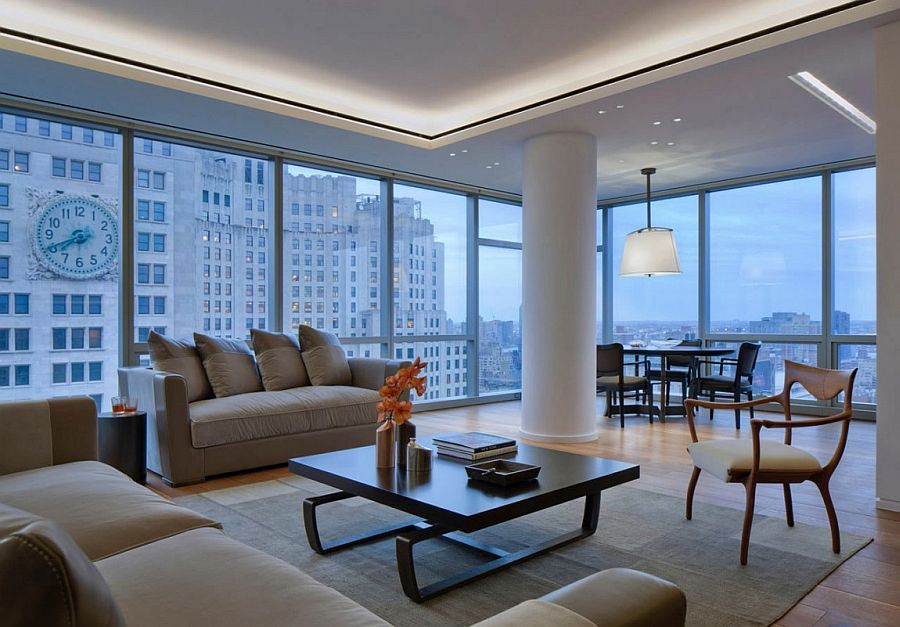 Refined apartment in new york city by andre kikoski architect - Expansive large glass windows living room pros cons ...