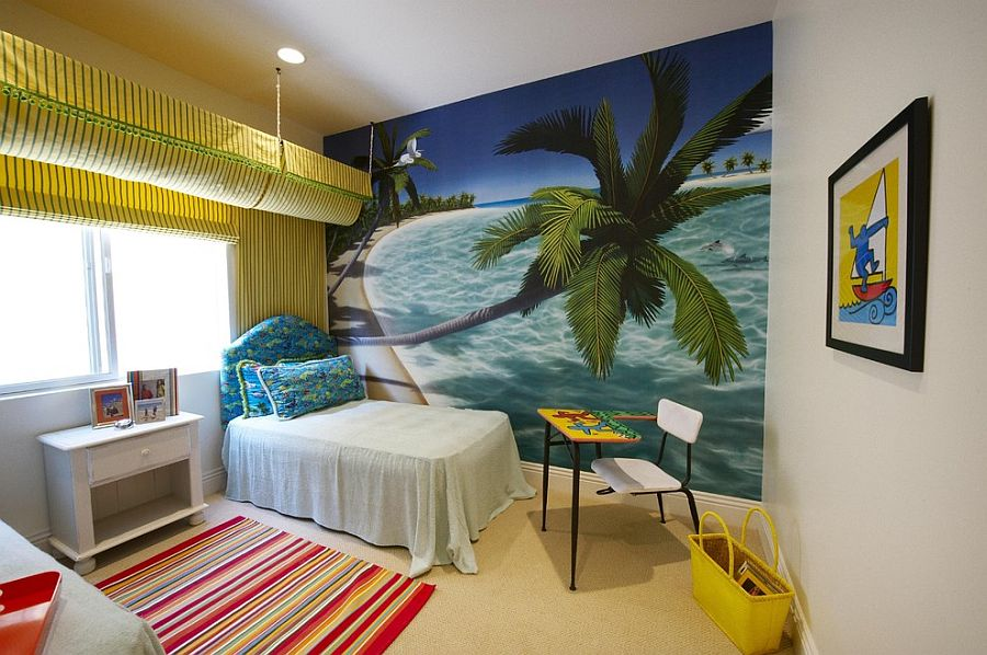 Large wall mural ushers in the tropical vibe in this colorful bedroom [Design: Tracy Murdock Allied ASID]