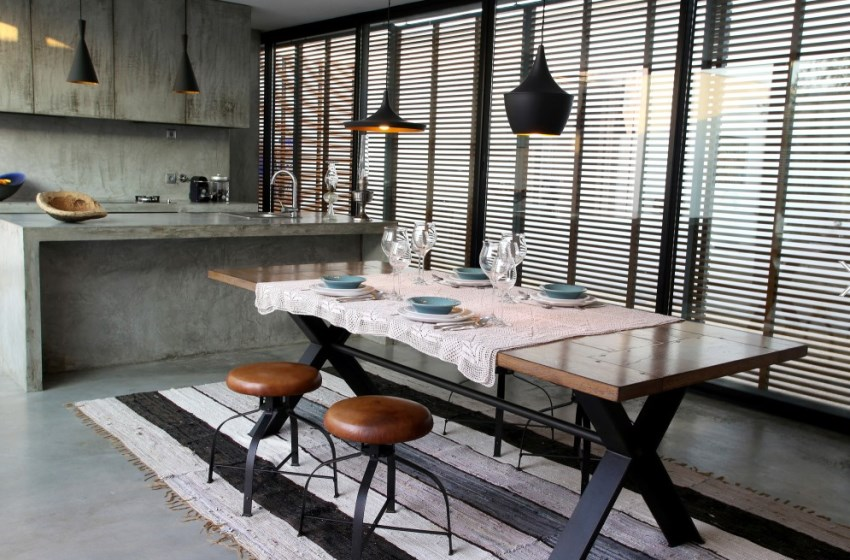 Leather and metal stools in a modern dining room