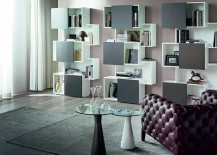 Let the bookshelf add a touch of color to the interior