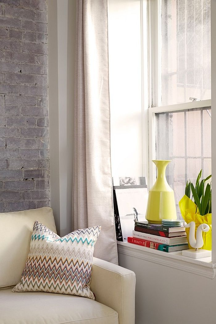 Living room window sill decorating idea