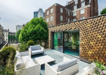 London Residence Outdoor Area with Folded Metal Leaves