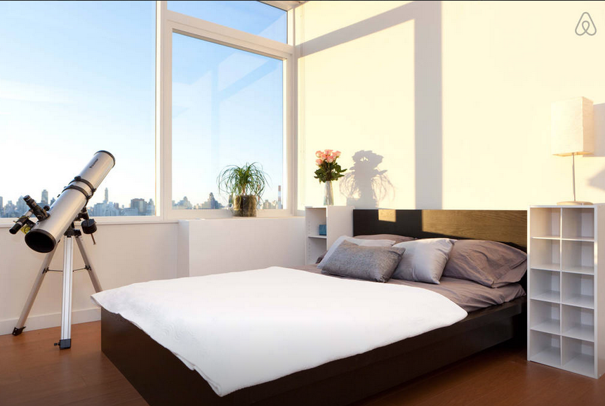 Long Island City Penthouse Bedroom with Telescope