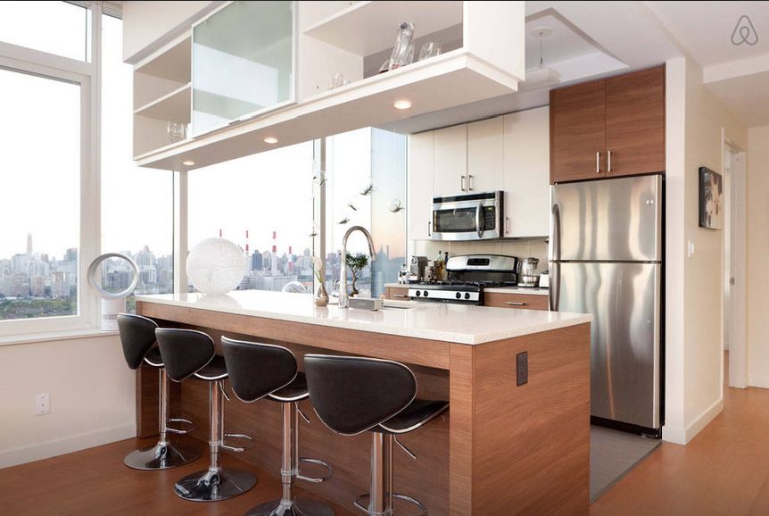 Long Island City Penthouse Open Kitchen with Bar Stools