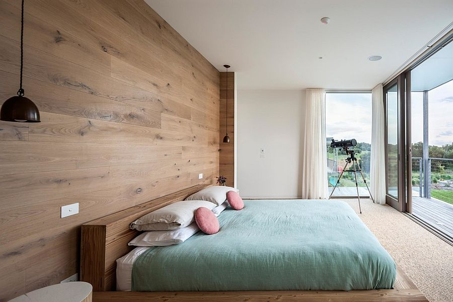 ... Lovely Bedroom With Bedside Pendant Lights And Wooden Headboard Wall  [From: Urban Angles Photography