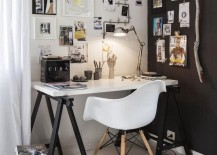 Lovely blend of black and white for the small home workspace
