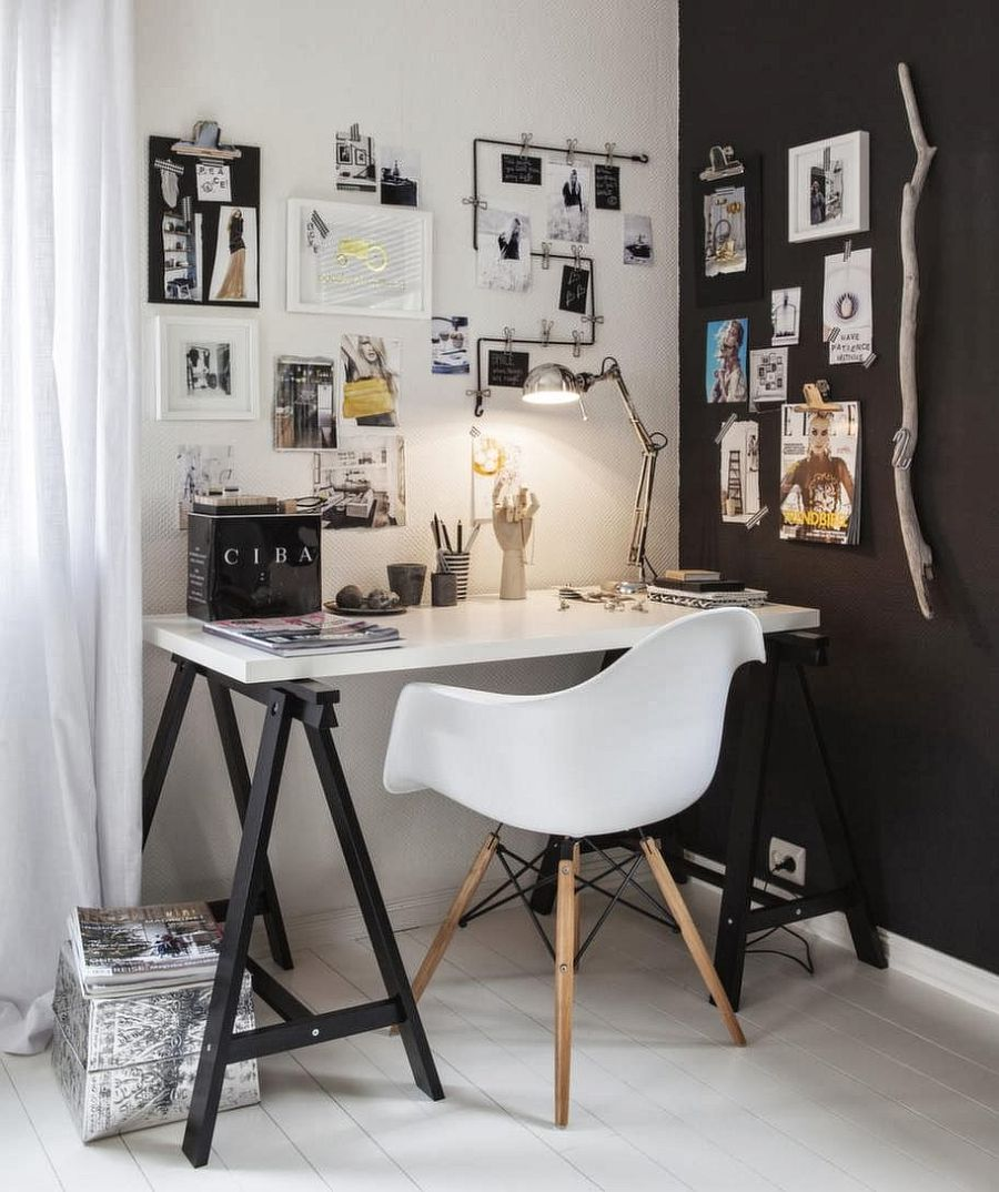 ... Lovely blend of black and white for the small home workspace