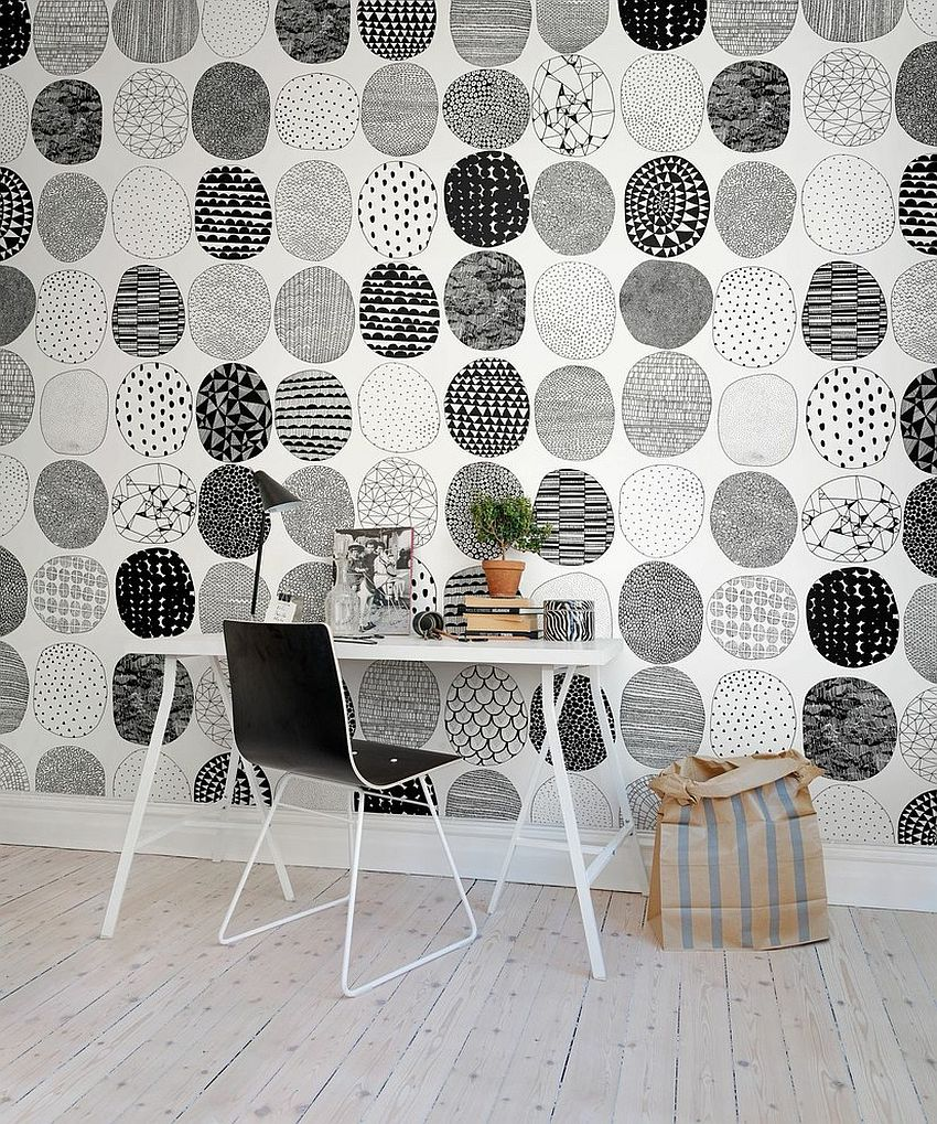 Lovely custom wall covering for the black and white home office [Design: Rebel Walls]