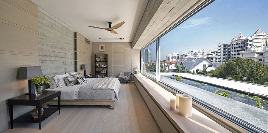 Master bedroom on the top floor with dramatic views of the city skyline