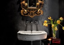 Mediterranean-powder-room-with-a-black-backdrop-and-stone-sink-217x155