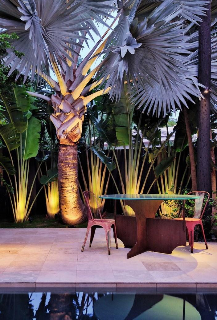 Miami patio with illuminated tropical foliage