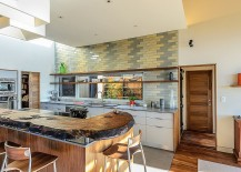 Midcentury kitchen with gray and yellow subway tiles