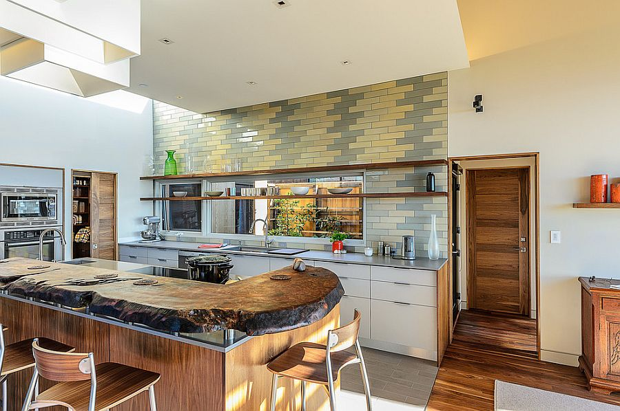 Midcentury kitchen with gray and yellow subway tiles [Design: Hudson Street Design]