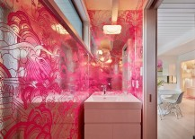 Midcentury powder room in fucsia and silver