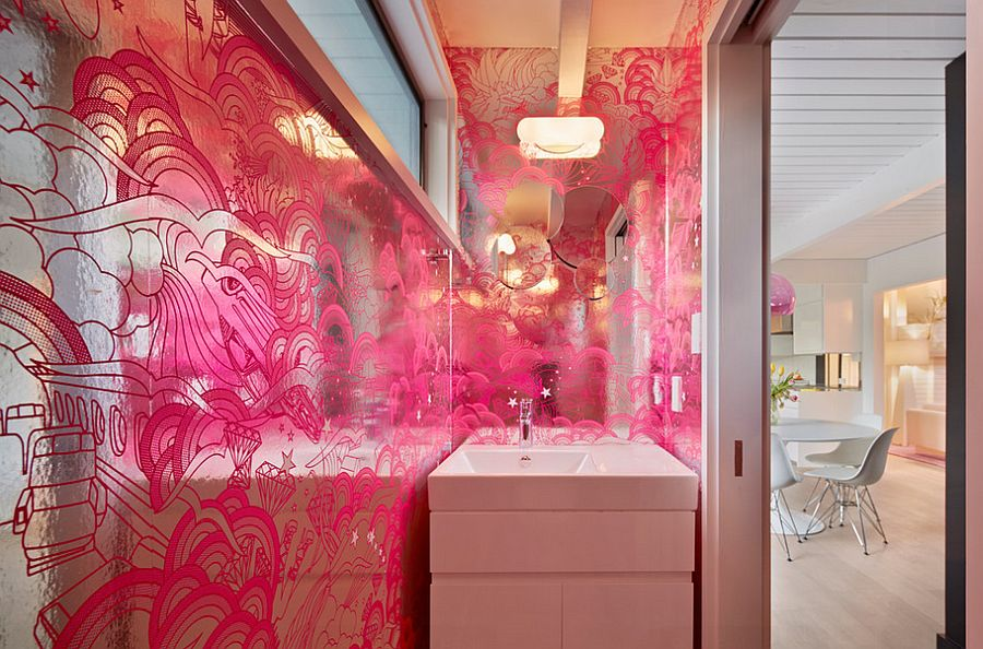 Midcentury powder room in fuchsia and silver [Design: Flegel's Construction]