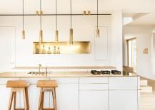 Minimal kitchen with golden aura