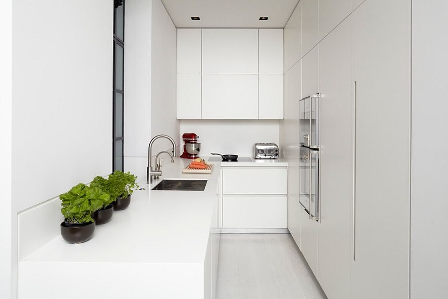 Minimal modern kitchen in white with potted herbs [Design: TLA Studio]