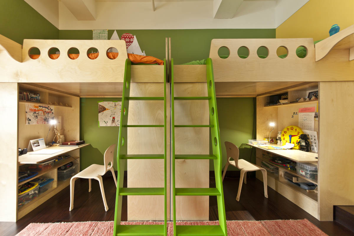 2 Loft Beds In One Room. View in gallery Mirrored loft beds for two siblings