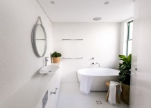 Modern bathroom with green plants 217x155 Less Is More Modern Bathroom Decor