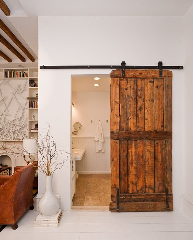... Modern Eclectic Bathroom With A Lovely Barn Door [Design: The Brooklyn  Home Company /