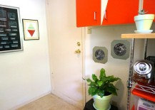 Modern laundry room with DIY photo frames