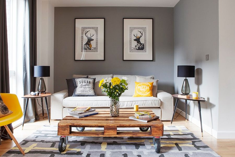 Modern living room in gray with pops of yellow [Design: Studio Morton]