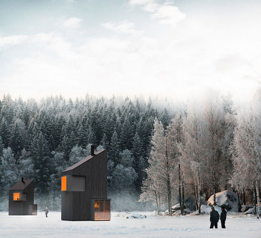 winter retreat ideas  Modern Minimalism Meets Wooden Warmth inside Small Winter Retreat