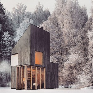 Modern wooden shelter and ski hut with gorgeous minimal design