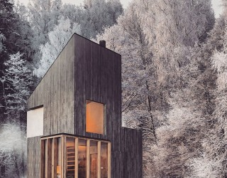 Modern Minimalism Meets Wooden Warmth inside Small Winter Retreat