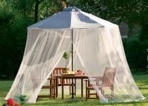 Mosquito net over an umbrella